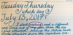 "Snapshot of the ""Tuesday Thursday"" date at the top of my journal page today."