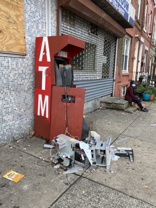 Picture of a demolished ATM